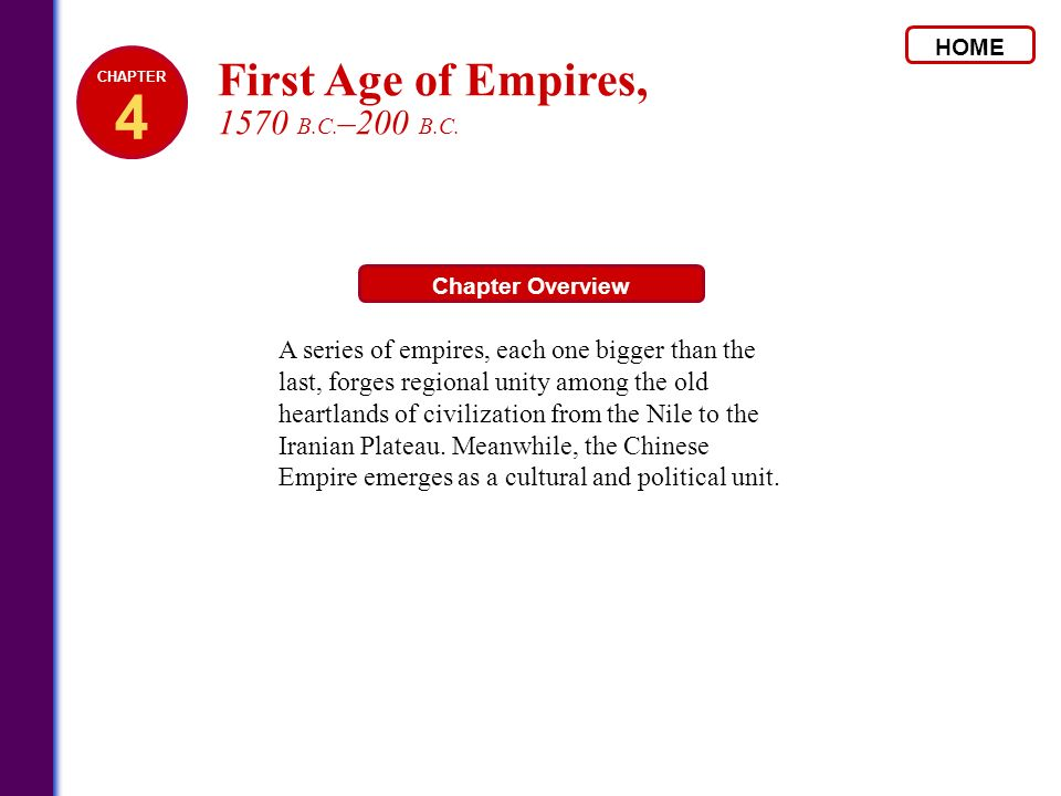 HOME Chapter Overview A series of empires, each one bigger than the last, forges regional unity among the old heartlands of civilization from the Nile