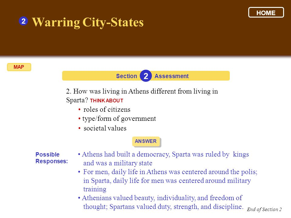 2 2. How was living in Athens different from living in Sparta? THINK ABOUT Section 2 Assessment roles of citizens type/form of government societal val