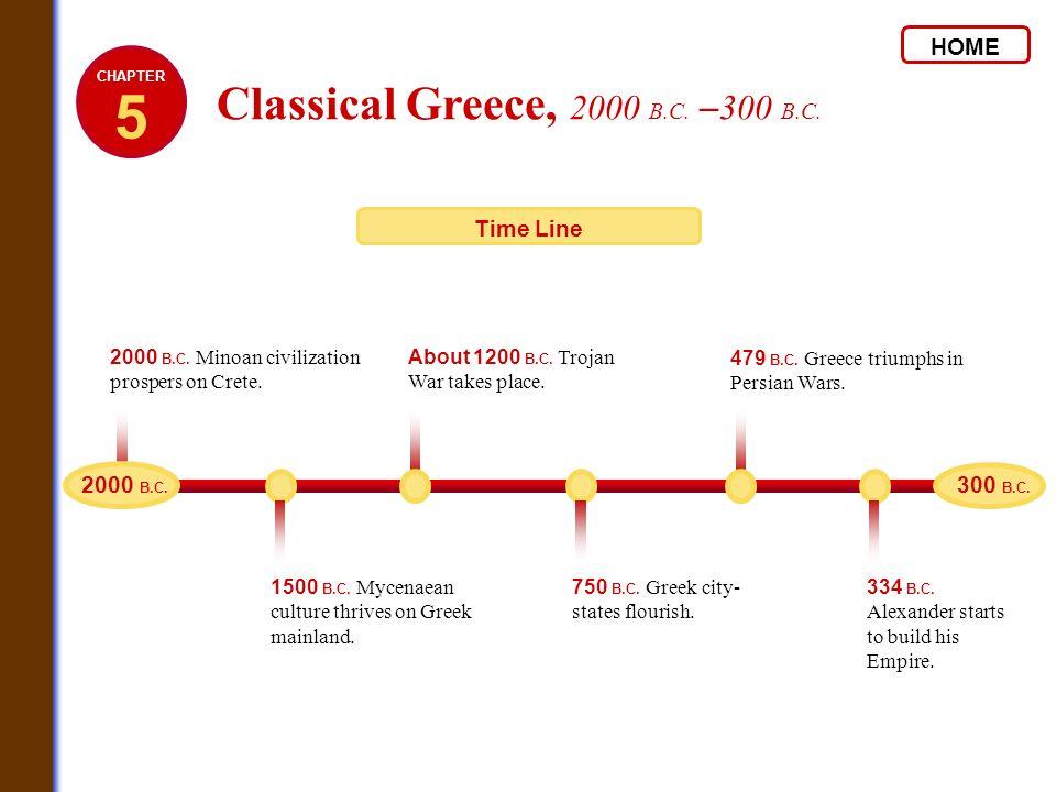 2000 B.C. Minoan civilization prospers on Crete. 1500 B.C. Mycenaean culture thrives on Greek mainland. About 1200 B.C. Trojan War takes place. 750 B.