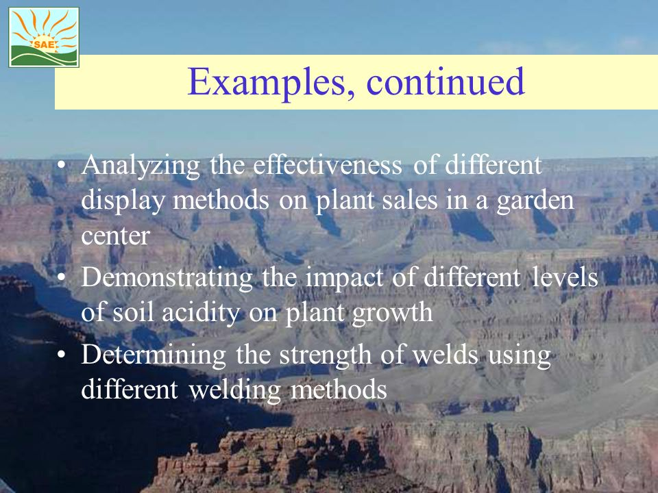 Examples, continued Analyzing the effectiveness of different display methods on plant sales in a garden center Demonstrating the impact of different l