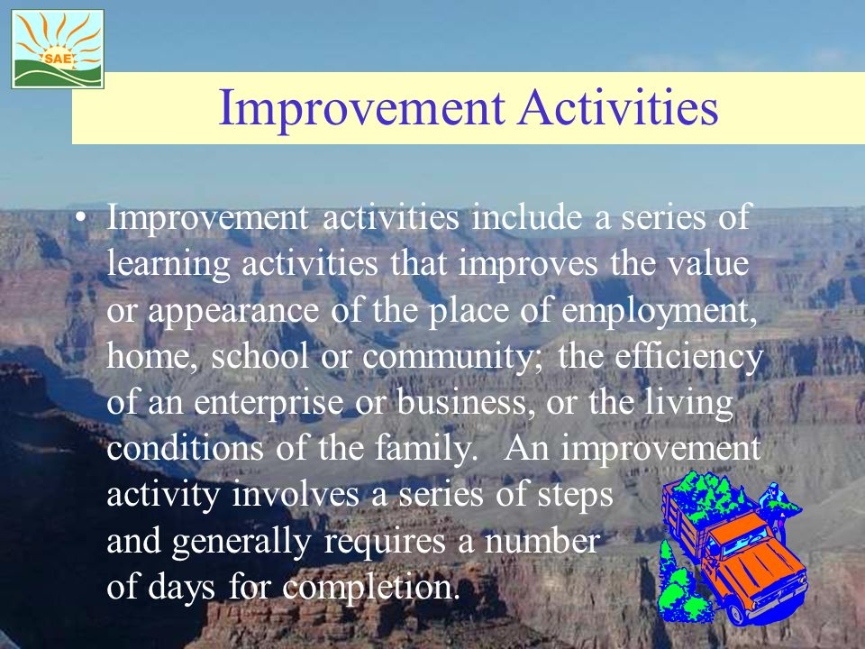 Improvement Activities Improvement activities include a series of learning activities that improves the value or appearance of the place of employment, home, school or community; the efficiency of an enterprise or business, or the living conditions of the family.