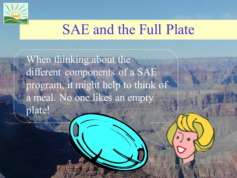 SAE and the Full Plate When thinking about the different components of a SAE program, it might help to think of a meal. No one likes an empty plate!