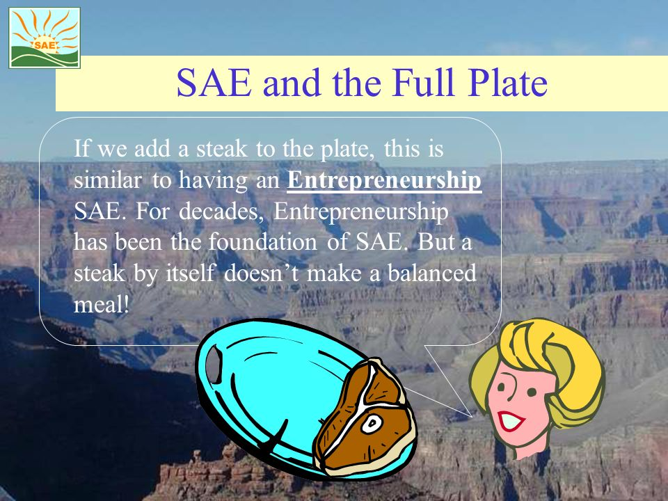 SAE and the Full Plate If we add a steak to the plate, this is similar to having an Entrepreneurship SAE. For decades, Entrepreneurship has been the f