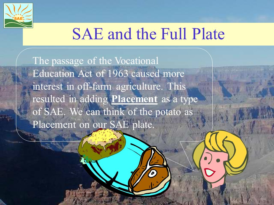 SAE and the Full Plate The passage of the Vocational Education Act of 1963 caused more interest in off-farm agriculture. This resulted in adding Place