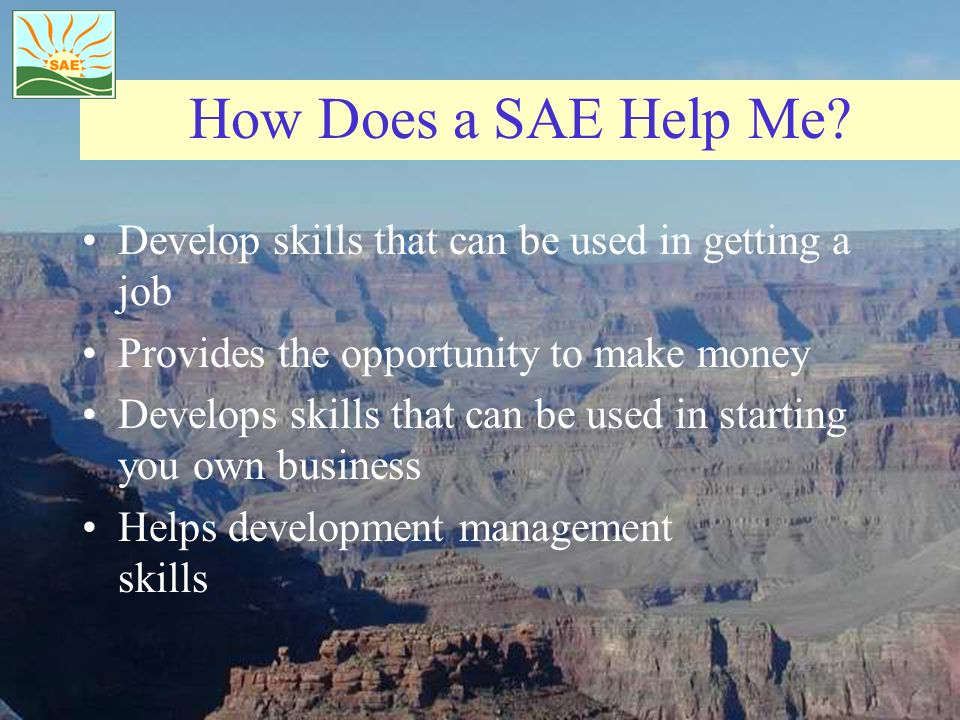 How Does a SAE Help Me? Develop skills that can be used in getting a job Provides the opportunity to make money Develops skills that can be used in st
