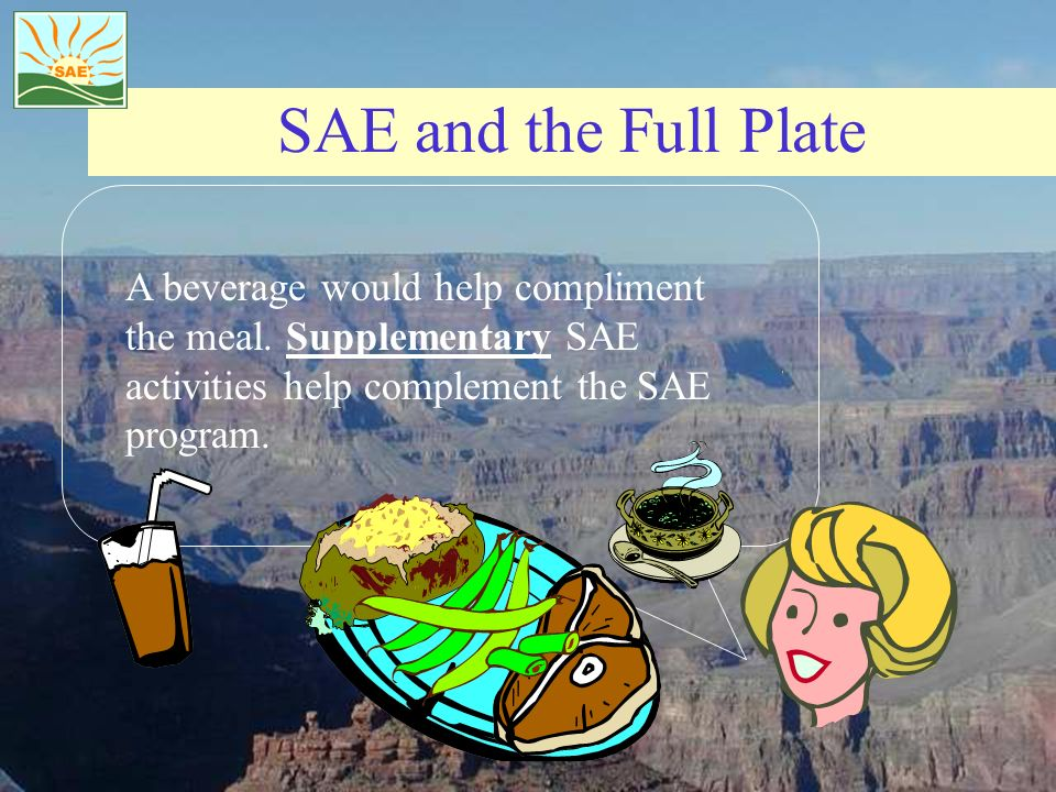 SAE and the Full Plate A beverage would help compliment the meal.
