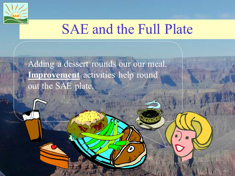 SAE and the Full Plate Adding a dessert rounds our our meal. Improvement activities help round out the SAE plate.