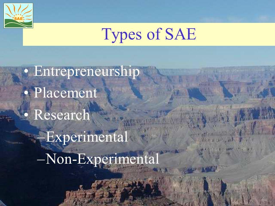Types of SAE Entrepreneurship Placement Research –Experimental –Non-Experimental