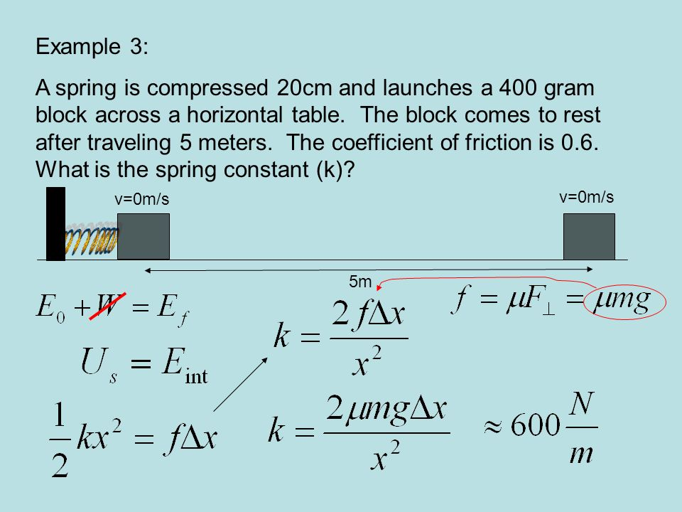 Example 3: A spring is compressed 20cm and launches a 400 gram block across a horizontal table. The block comes to rest after traveling 5 meters. The