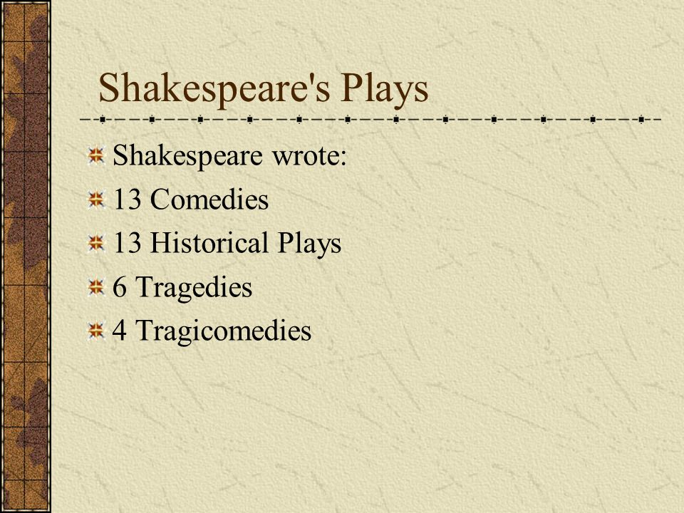 Shakespeare the playwright He got his ideas from other plays– from the works of Seneca, Plautus, Ovid, and Plutarchs Lives. Shakespeare wrote at least