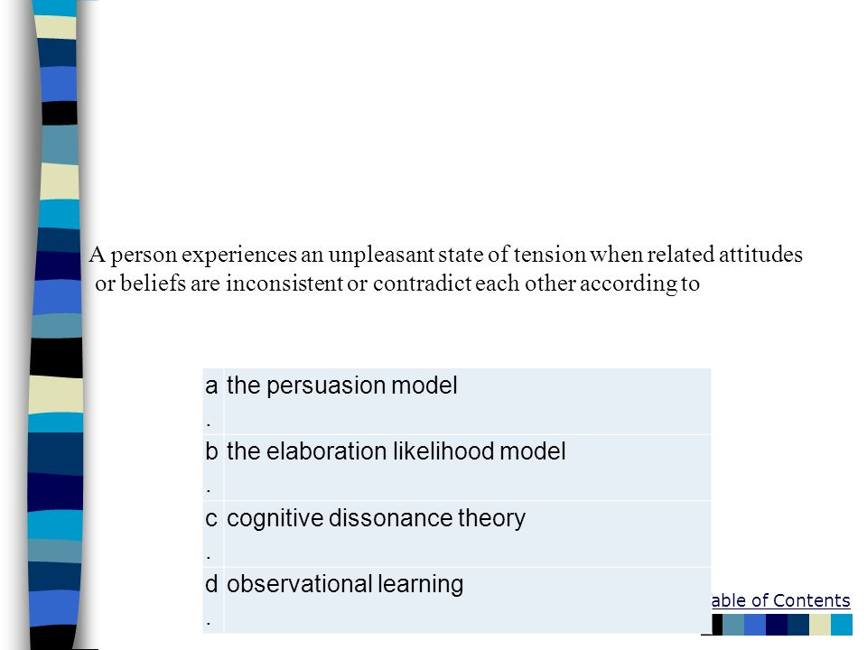 Table of Contents a.a. the persuasion model b.b. the elaboration likelihood model c.c. cognitive dissonance theory d.d. observational learning A perso