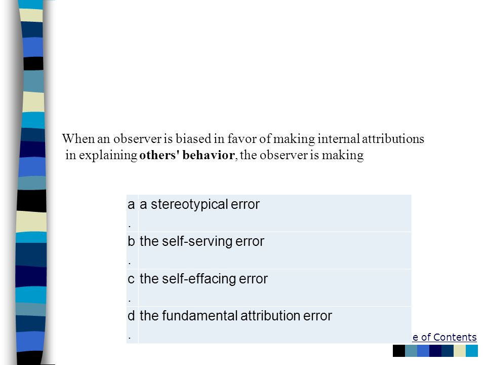 Table of Contents a.a. a stereotypical error b.b. the self-serving error c.c. the self-effacing error d.d. the fundamental attribution error When an o