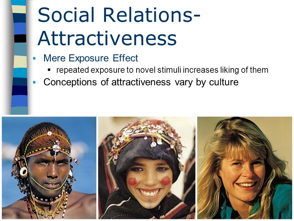 Table of Contents Social Relations- Attractiveness Mere Exposure Effect repeated exposure to novel stimuli increases liking of them Conceptions of att