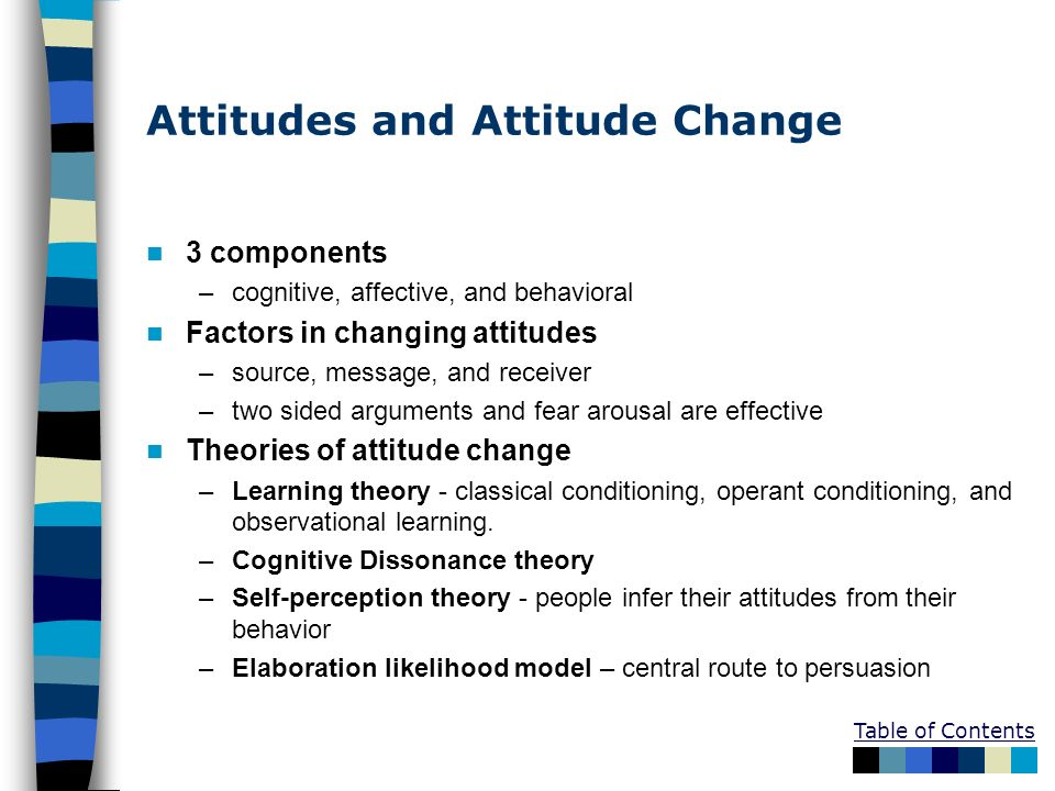 Table of Contents Attitudes and Attitude Change 3 components –cognitive, affective, and behavioral Factors in changing attitudes –source, message, and