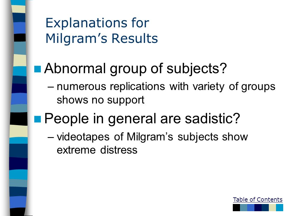Explanations for Milgrams Results Abnormal group of subjects? –numerous replications with variety of groups shows no support People in general are sad