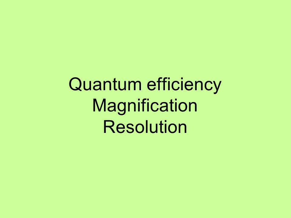 Quantum efficiency Magnification Resolution
