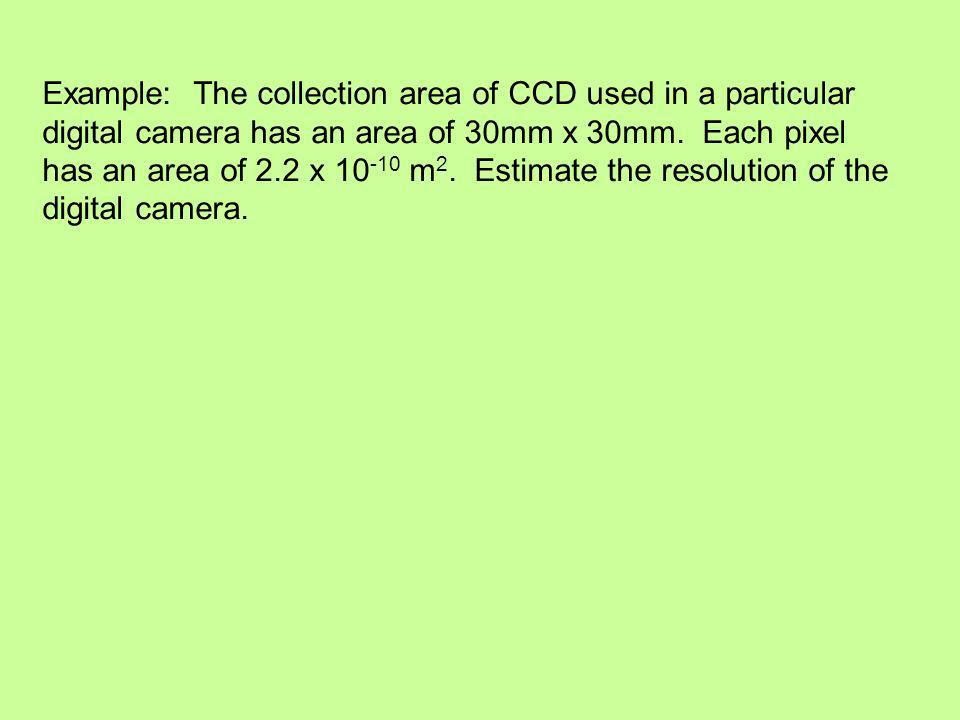 Example: The collection area of CCD used in a particular digital camera has an area of 30mm x 30mm.