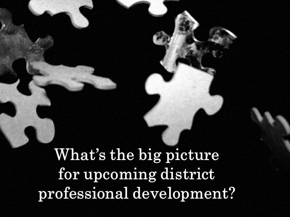 Whats the big picture for upcoming district professional development