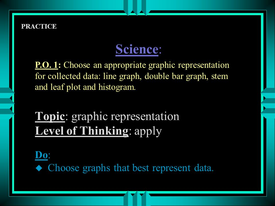 Topic: graphic representation Level of Thinking: apply PRACTICE Do: u Choose graphs that best represent data.