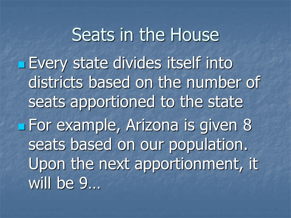 Seats in the House Seats are apportioned (given out) to each state based on population Seats are apportioned (given out) to each state based on population Every 10 years seats are reapportioned after the census, when a new count of the population is taken Every 10 years seats are reapportioned after the census, when a new count of the population is taken Ever since 1929, the number has been 435 (Reapportionment Act) Ever since 1929, the number has been 435 (Reapportionment Act)