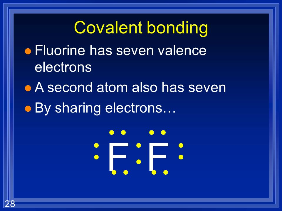 27 Covalent bonding l Fluorine has seven valence electrons l A second atom also has seven l By sharing electrons… FF