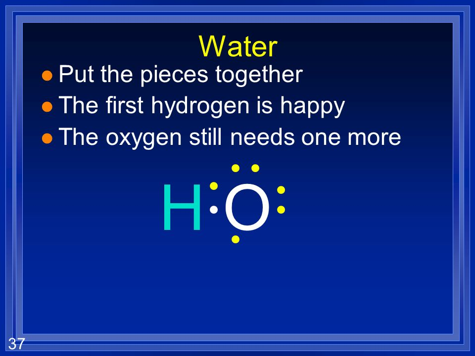 36 Water H O Each hydrogen has 1 valence electron - Each hydrogen wants 1 more The oxygen has 6 valence electrons - The oxygen wants 2 more They share