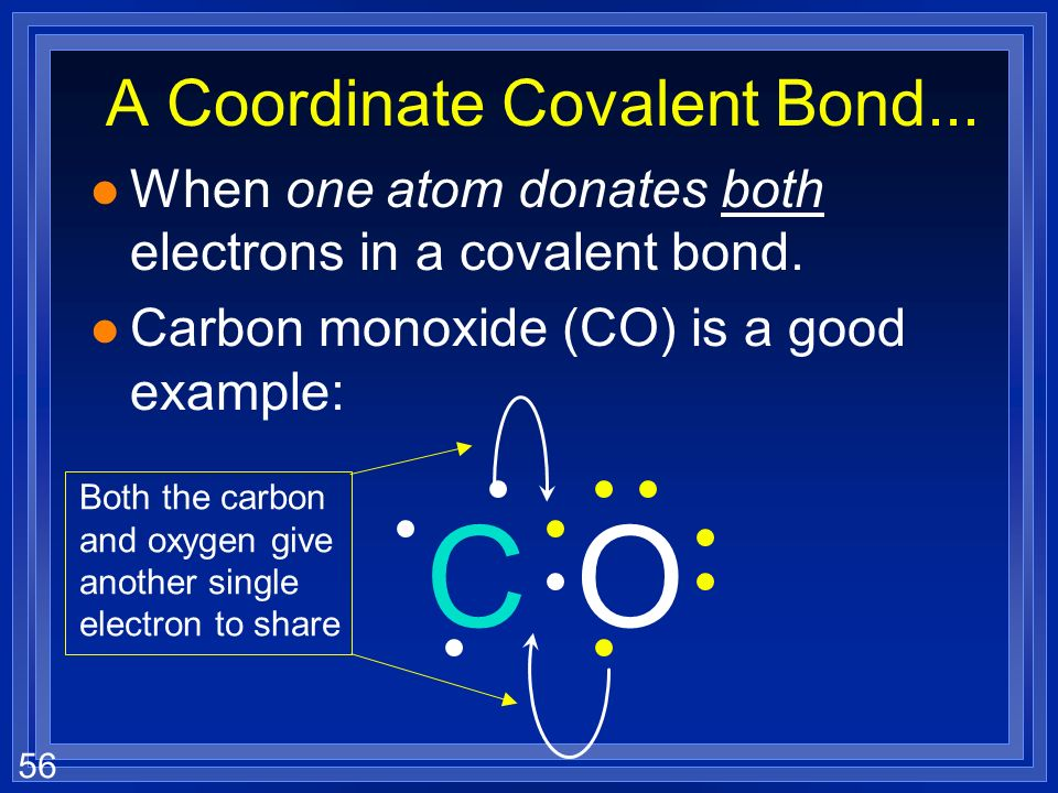 55 HCN l Put in single bonds l Need 2 more bonds l Must go between C and N l Uses 8 electrons - 2 more to add l Must go on the N to fill its octet NHC