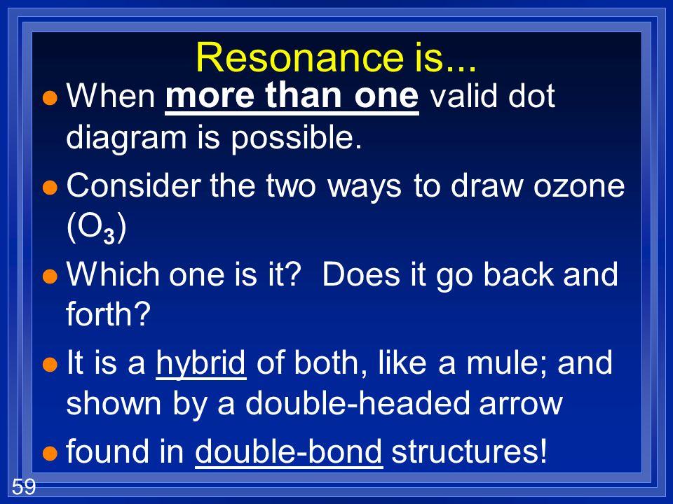 58 Coordinate Covalent Bond l When one atom donates both electrons in a covalent bond. l Carbon monoxide (CO) OC C O The coordinate covalent bond is s