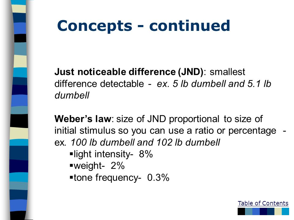 Table of Contents Just noticeable difference (JND): smallest difference detectable - ex. 5 lb dumbell and 5.1 lb dumbell Webers law: size of JND propo