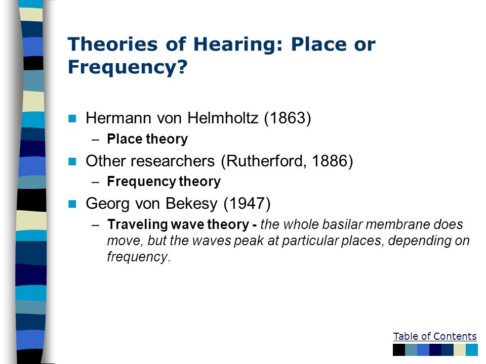 Table of Contents Theories of Hearing: Place or Frequency? Hermann von Helmholtz (1863) –Place theory Other researchers (Rutherford, 1886) –Frequency