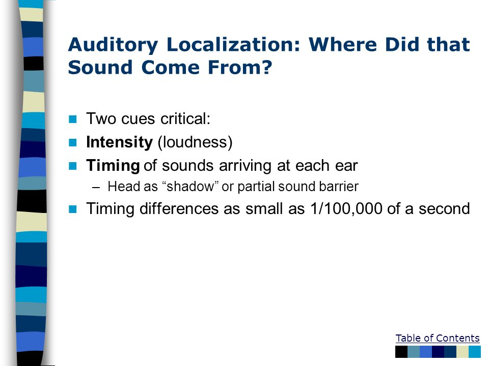 Table of Contents Auditory Localization: Where Did that Sound Come From? Two cues critical: Intensity (loudness) Timing of sounds arriving at each ear