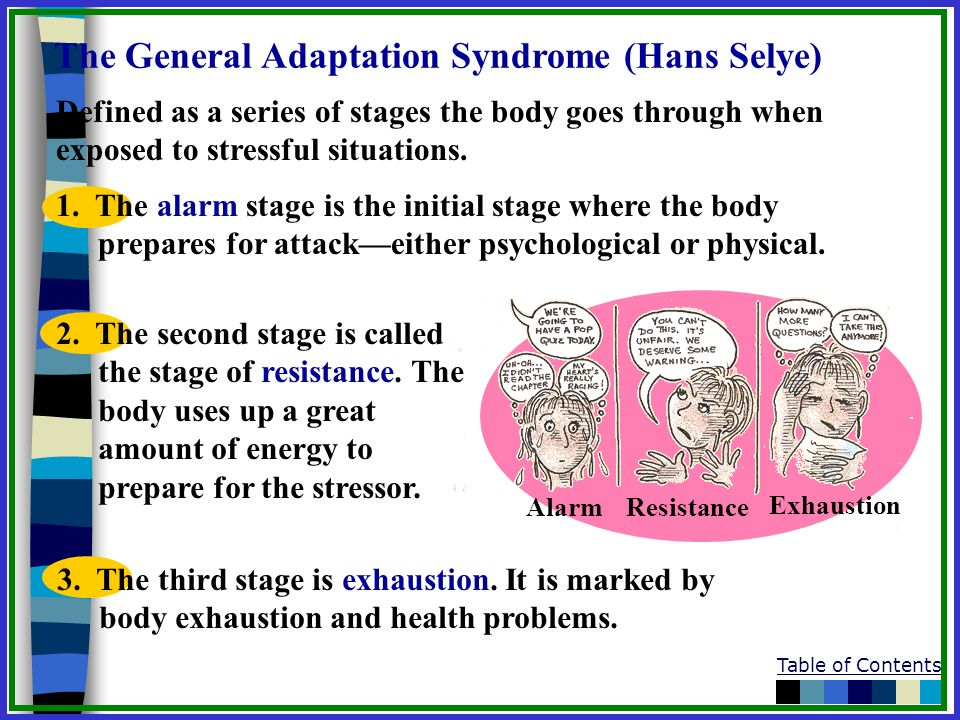 Table of Contents The General Adaptation Syndrome (Hans Selye) Defined as a series of stages the body goes through when exposed to stressful situation