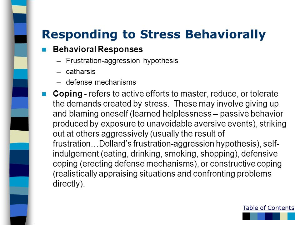Table of Contents Responding to Stress Behaviorally Behavioral Responses –Frustration-aggression hypothesis –catharsis –defense mechanisms Coping - re