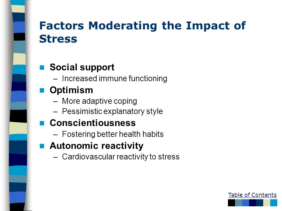 Factors Moderating the Impact of Stress Social support –Increased immune functioning Optimism –More adaptive coping –Pessimistic explanatory style Con