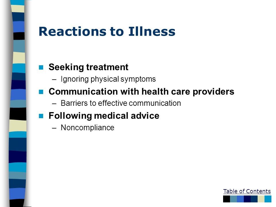 Reactions to Illness Seeking treatment –Ignoring physical symptoms Communication with health care providers –Barriers to effective communication Follo