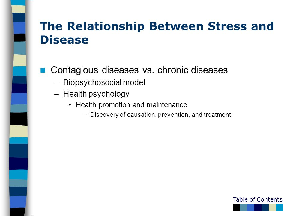 Table of Contents The Relationship Between Stress and Disease Contagious diseases vs. chronic diseases –Biopsychosocial model –Health psychology Healt