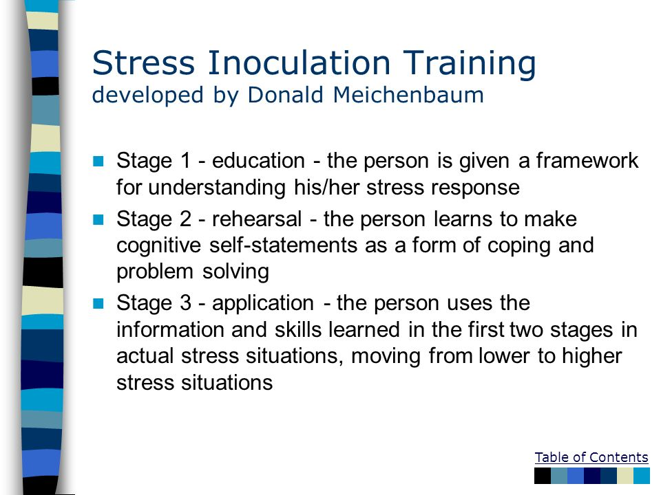 Table of Contents Stress Inoculation Training developed by Donald Meichenbaum Stage 1 - education - the person is given a framework for understanding