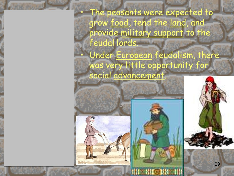 2/11/201429 The peasants were expected to grow food, tend the land, and provide military support to the feudal lords.
