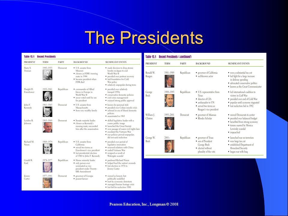 Pearson Education, Inc., Longman © 2008 The Presidents