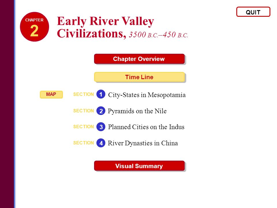 Early River Valley Civilizations, 3500 B.C. –450 B.C. QUIT Chapter Overview Time Line Visual Summary SECTION City-States in Mesopotamia 1 SECTION Pyra