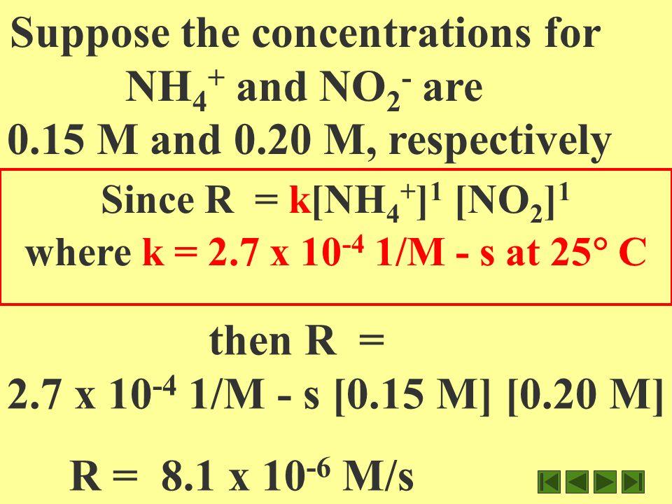 k= 10.8 x 10 -7 M/s / [0.02M] 1 [0.200M] 1 k = 10.8 x 10 -7 M/s / 0.004M 2 k = 2.7 x 10 -4 1/M s M = .