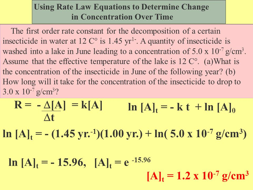§zero order Rate = k[A] o §plot concentration [A] vs.
