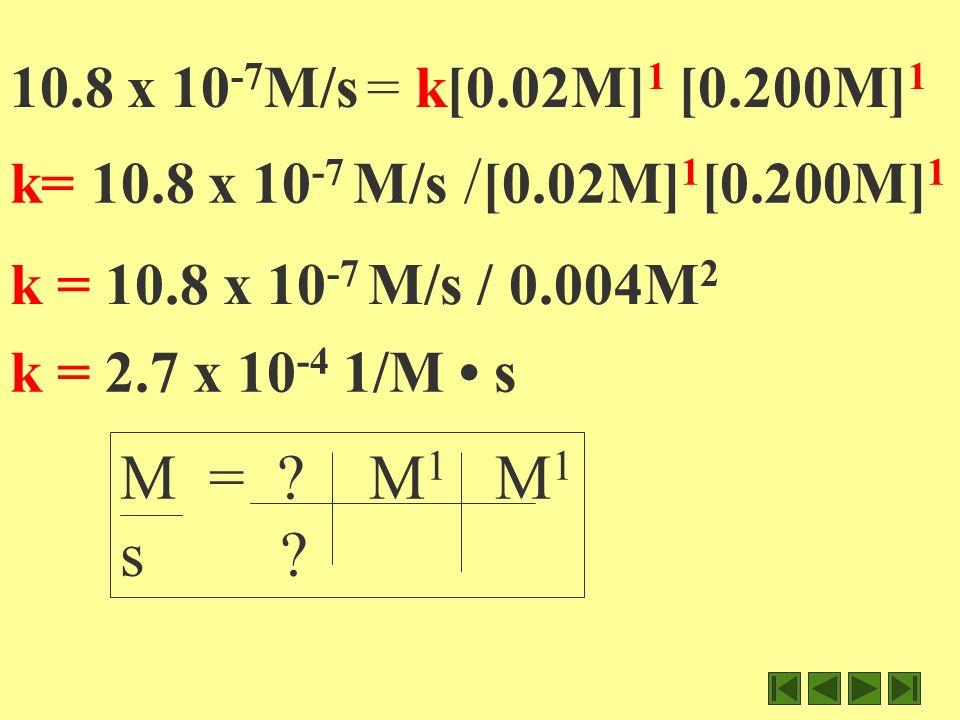 10.8 x 10 -7 M/s = k [0.02M] 1 [0.200M] 1