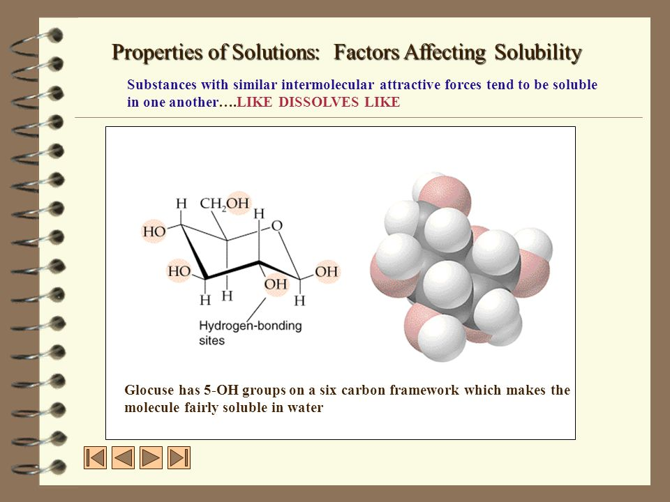 Glocuse has 5-OH groups on a six carbon framework which makes the molecule fairly soluble in water Properties of Solutions: Factors Affecting Solubili