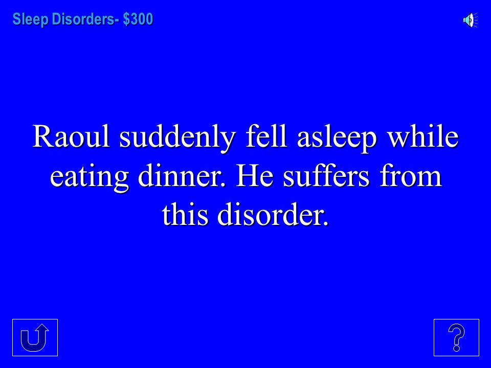 Sleep Disorders- $200 The sleep disorder in which a person has trouble falling or staying asleep.