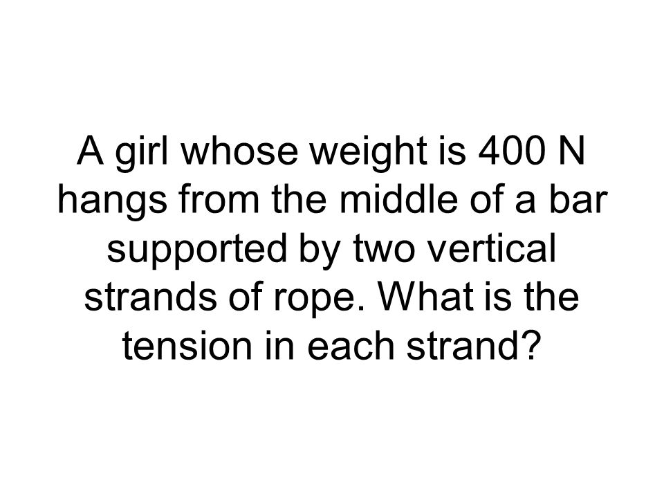 A girl whose weight is 400 N hangs from the middle of a bar supported by two vertical strands of rope. What is the tension in each strand?