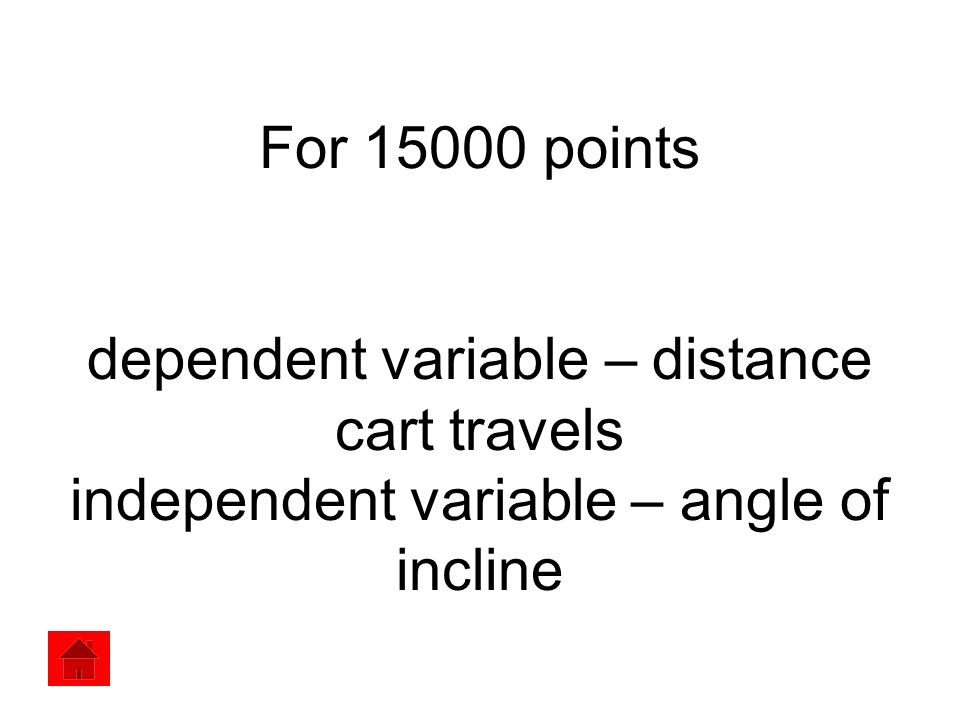 For 15000 points dependent variable – distance cart travels independent variable – angle of incline