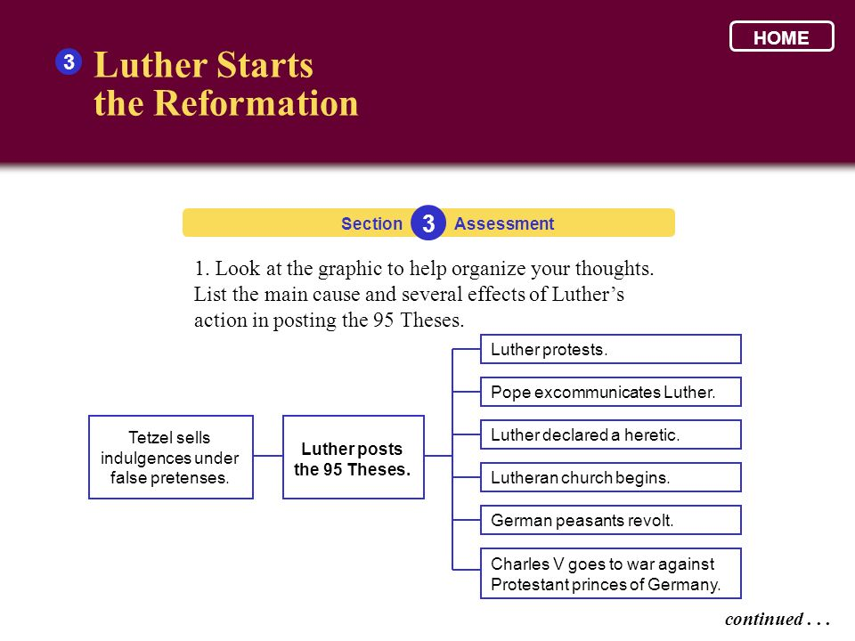 Luther Starts the Reformation 3 1. Look at the graphic to help organize your thoughts. List the main cause and several effects of Luthers action in po