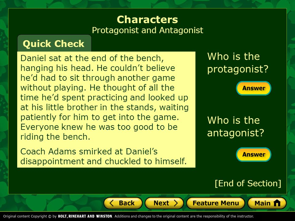 Characters Protagonist and Antagonist Daniel sat at the end of the bench, hanging his head.