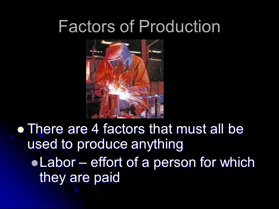 Factors of Production There are 4 factors that must all be used to produce anything There are 4 factors that must all be used to produce anything Natu